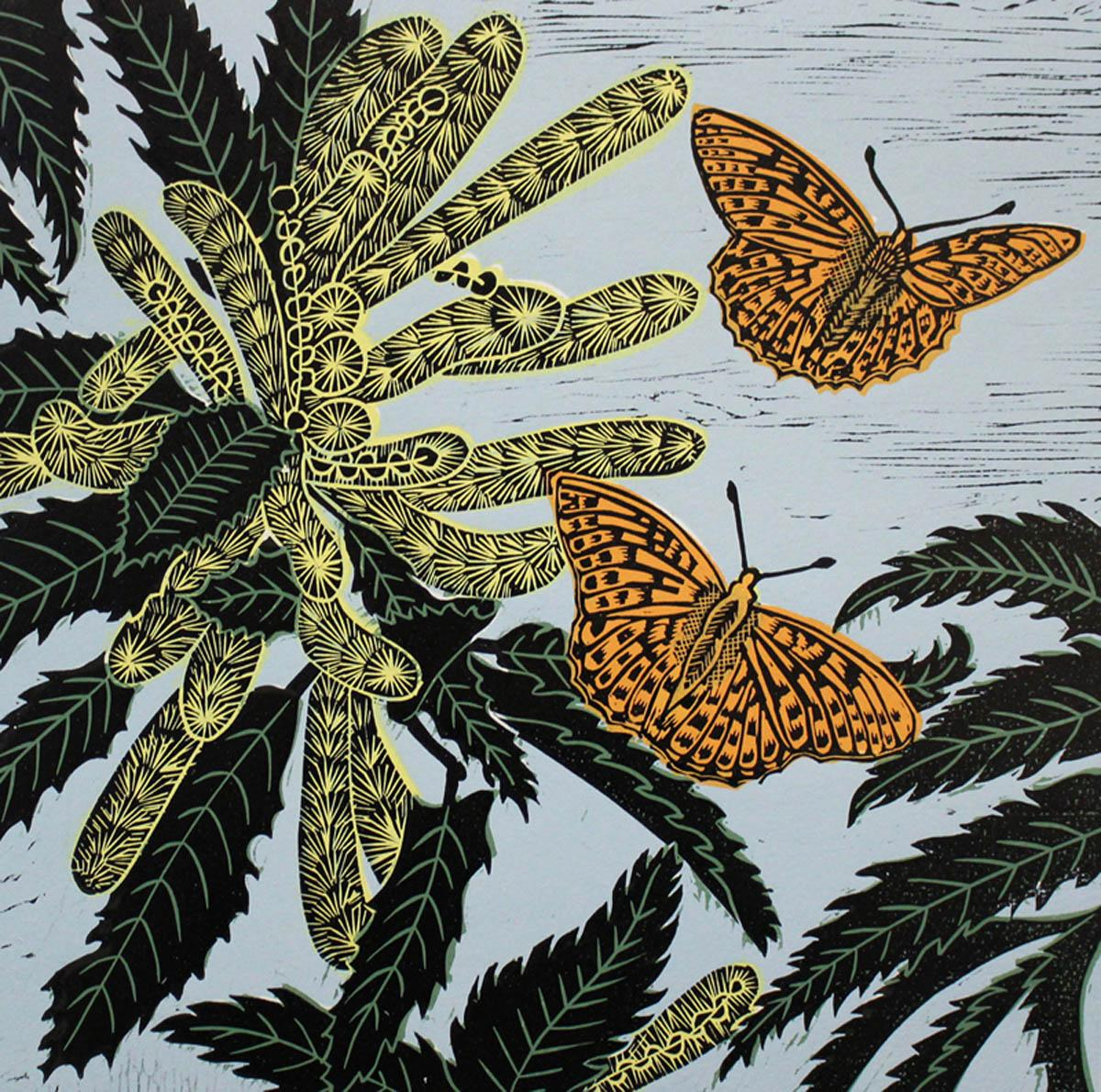 Snettisham Sweet Chestnut, Kate Heiss, Limited edition linocut print, Butterfly