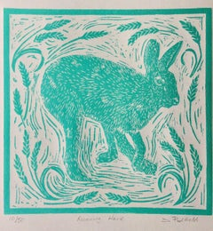 Joanna Padfield, Running Hare, Linocut Print, Bright Art, Contemporary Landscape