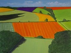 Warwickshire landscape, Christo Sharpe, Landscape art, Hockney style art