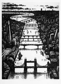 John Duffin, Thames Bridges Dusk, Limited Edition London Cityscape Etching
