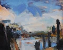 Lucy Powell, London Docks, Original Cityscape Painting, London Art, Abstract Art