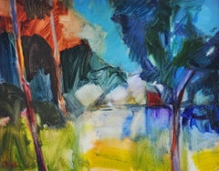 Lucy Powell, The Red Boathouse, Bright Semi-Abstract Art, Sailing Art, Boat Art