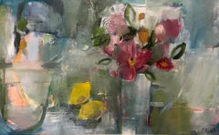 Jemma Powell, Pink Roses and 2 Lemons, Large Still Life Painting, Contemporary