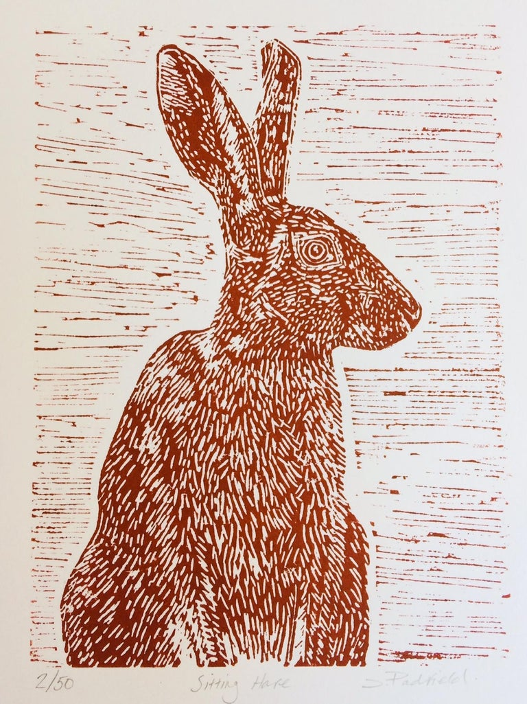Sitting Hare, Joanna Padfield, Linocut Print, Brown Art, Affordable Animal Print - Beige Still-Life Print by Joanna Padfield