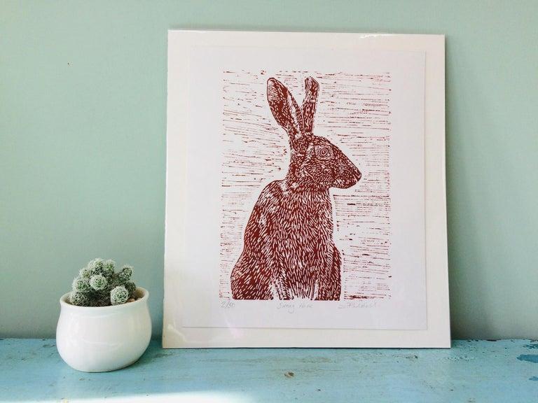 Sitting Hare, Joanna Padfield, Linocut Print, Brown Art, Affordable Animal Print For Sale 2
