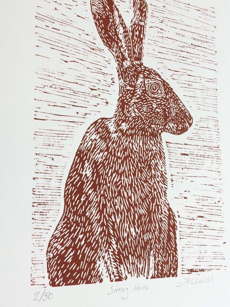Sitting Hare, Joanna Padfield, Linocut Print, Brown Art, Affordable Animal Print For Sale 3