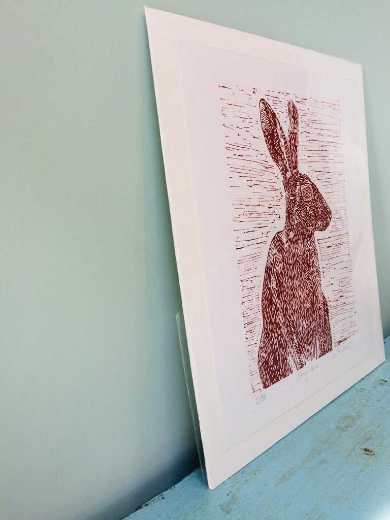 Sitting Hare, Joanna Padfield, Linocut Print, Brown Art, Affordable Animal Print For Sale 4
