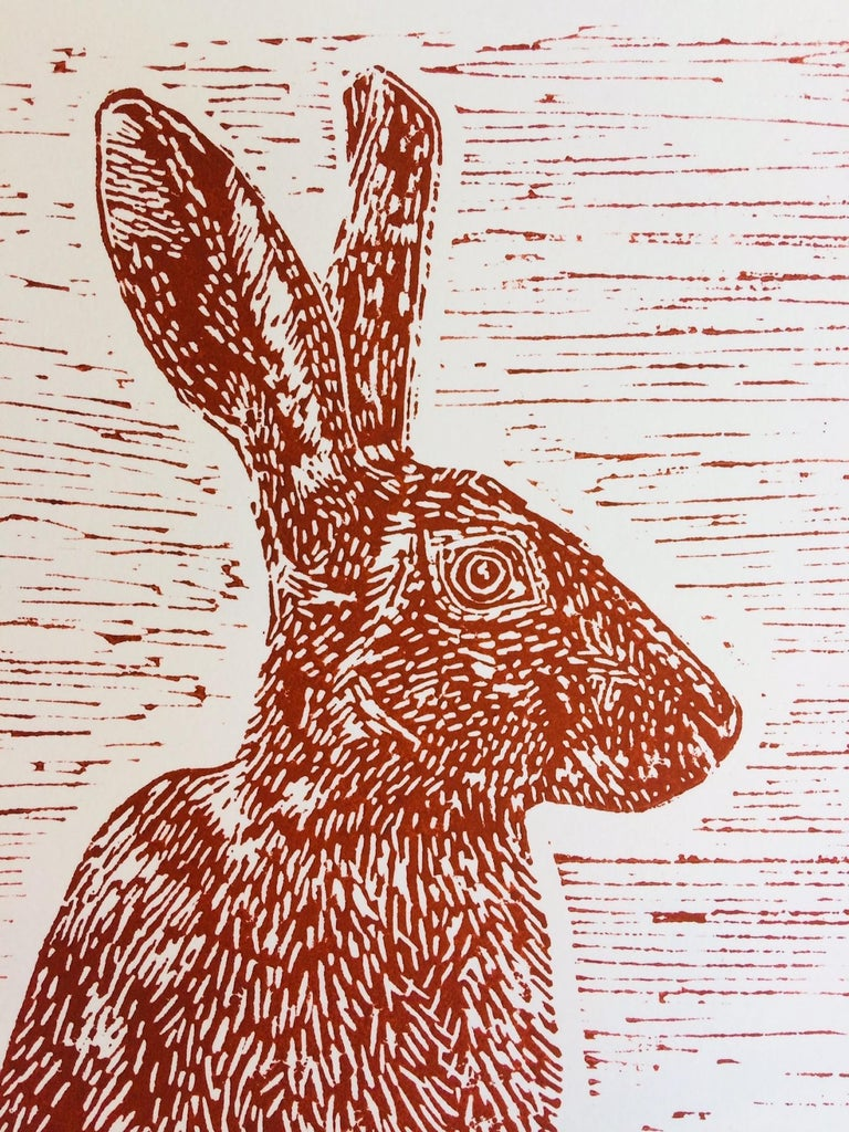 Sitting Hare, Joanna Padfield, Linocut Print, Brown Art, Affordable Animal Print For Sale 5