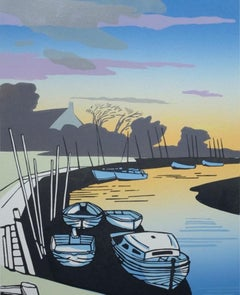 Blakeney Evening, Colin Moore, Bright Art, Norfolk Art, British Art, Boat Art