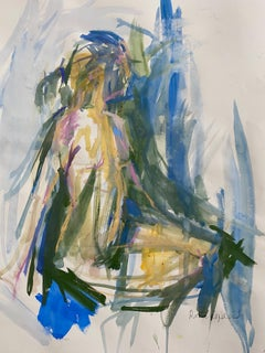 Sitting nude, green and blue Original Nude Painting, Affordable Art, Bright Art