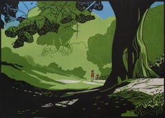 Hampstead Heath Summer BY COLIN MOORE, Landscape Print, Cityscape Art