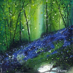 Adele Riley, Bluebell Wood, Original Contemporary Landscape Painting, Woodland A