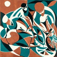 Full Moon, Lisa Takahashi, Limited Edition Print, Contemporary Art, Cycling Art