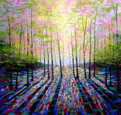 A Moment in Time BY AMANDA HORVATH, Abstract Landscape Paintings, Bright Art