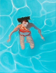 Submerged BY AMY DEVLIN, Figurative Art, Swimming Art, Sports Painting, Blue Art