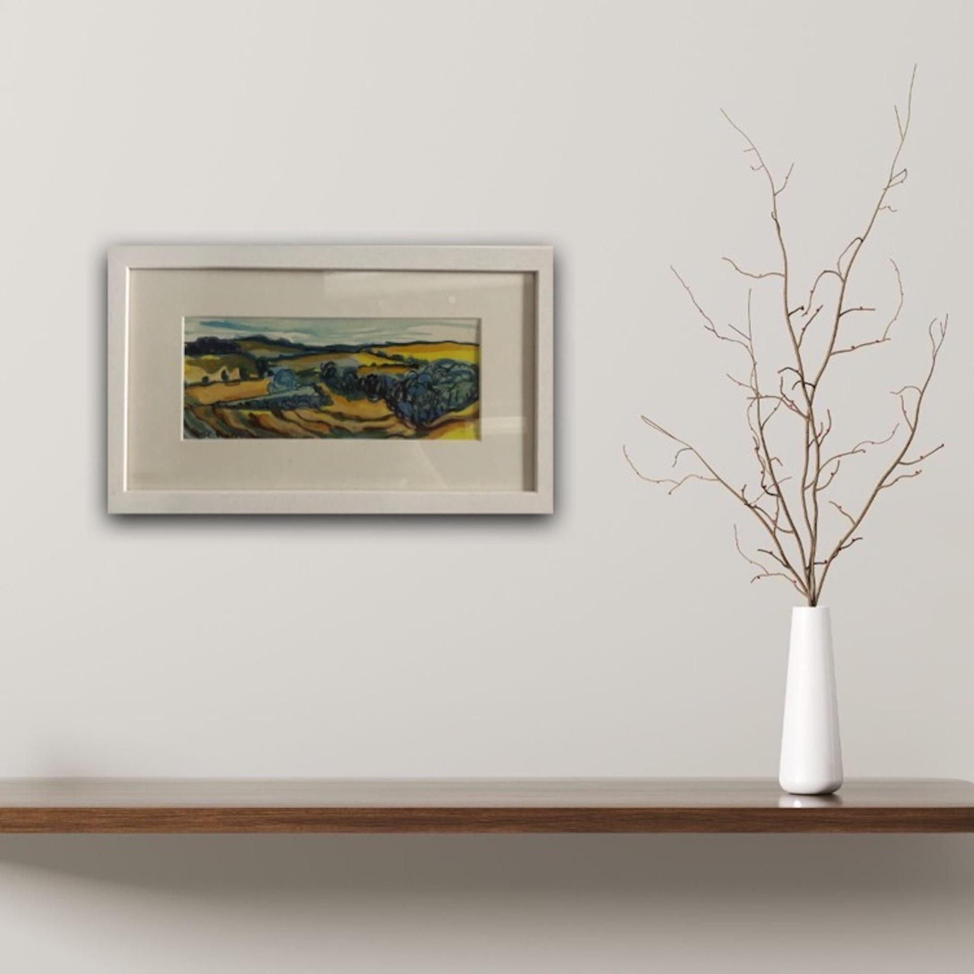 Rosie Phipps, Green Fields, Original Impressionist Landscape Painting Bright Art