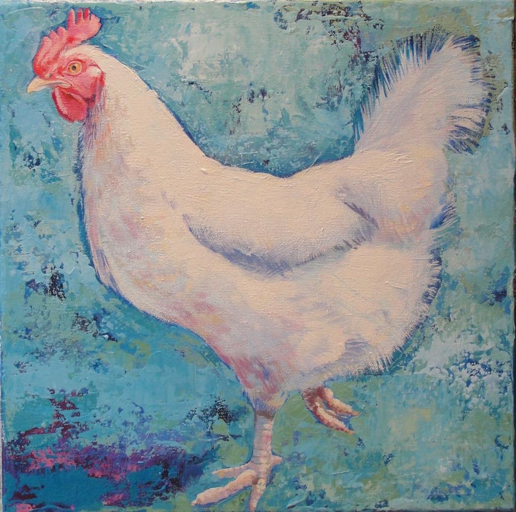 Agnes by Sharon Williams, animal, chicken, bird art, landscape, farmyard