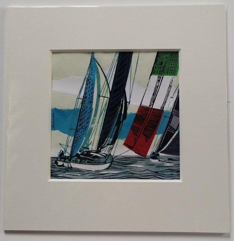 Cowes Classics by John Scott Martin, seascape, sailing, boats, linocut print For Sale 2