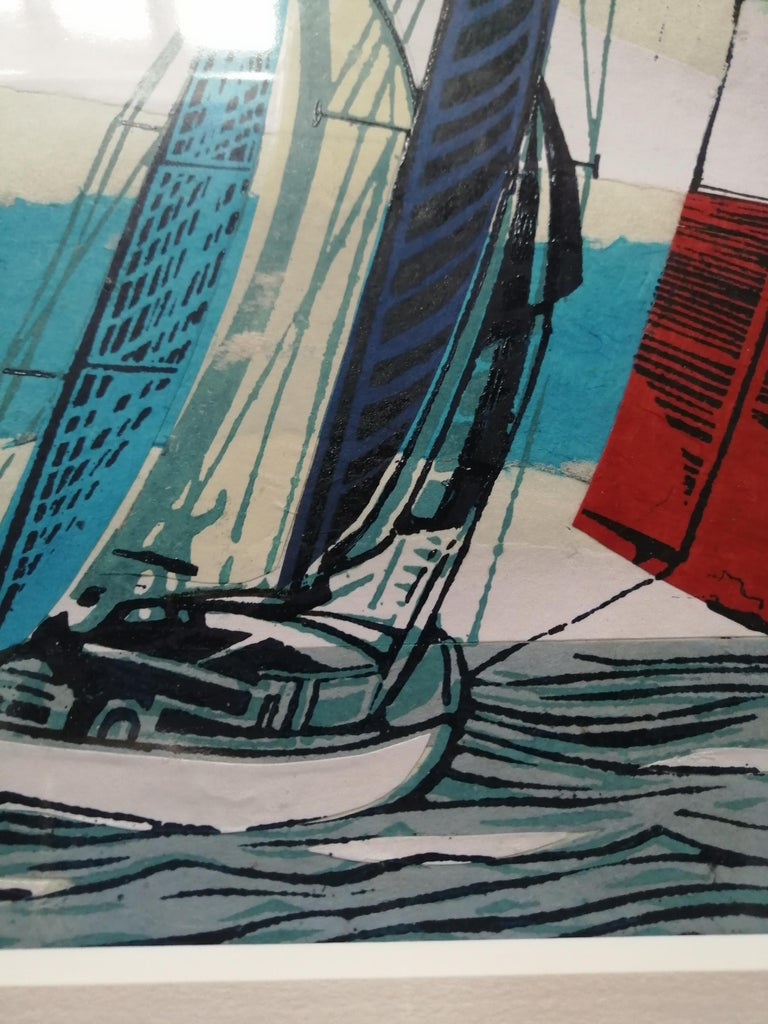 Cowes Classics by John Scott Martin, seascape, sailing, boats, linocut print For Sale 3