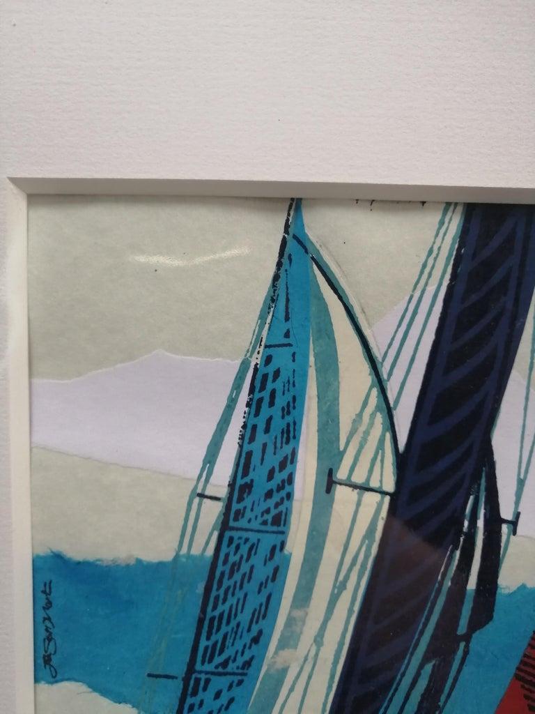 Cowes Classics by John Scott Martin, seascape, sailing, boats, linocut print For Sale 5