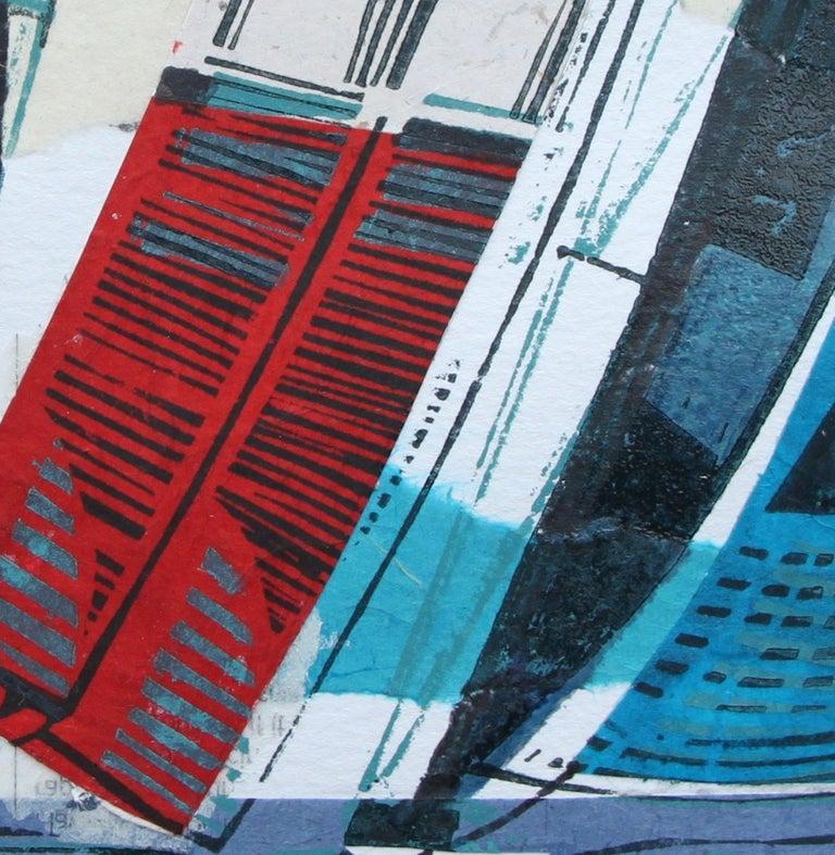 Cowes Classics by John Scott Martin, seascape, sailing, boats, linocut print For Sale 4