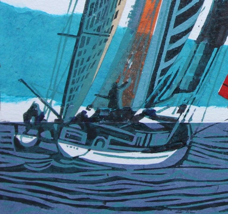 Cowes Classics by John Scott Martin, seascape, sailing, boats, linocut print For Sale 6