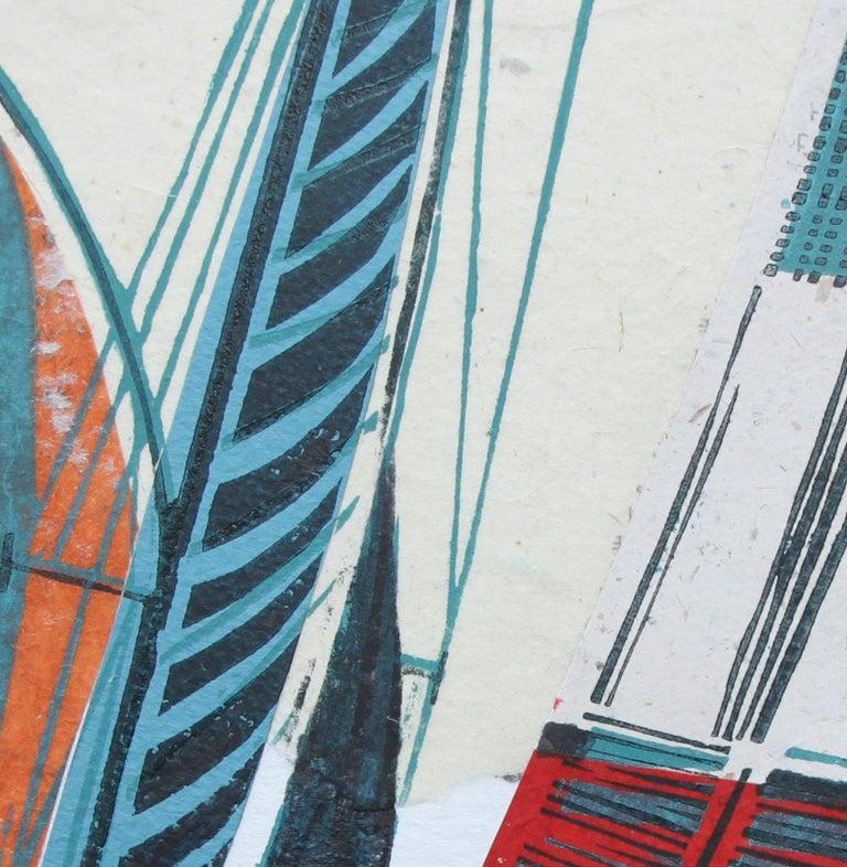 Cowes Classics by John Scott Martin, seascape, sailing, boats, linocut print For Sale 7