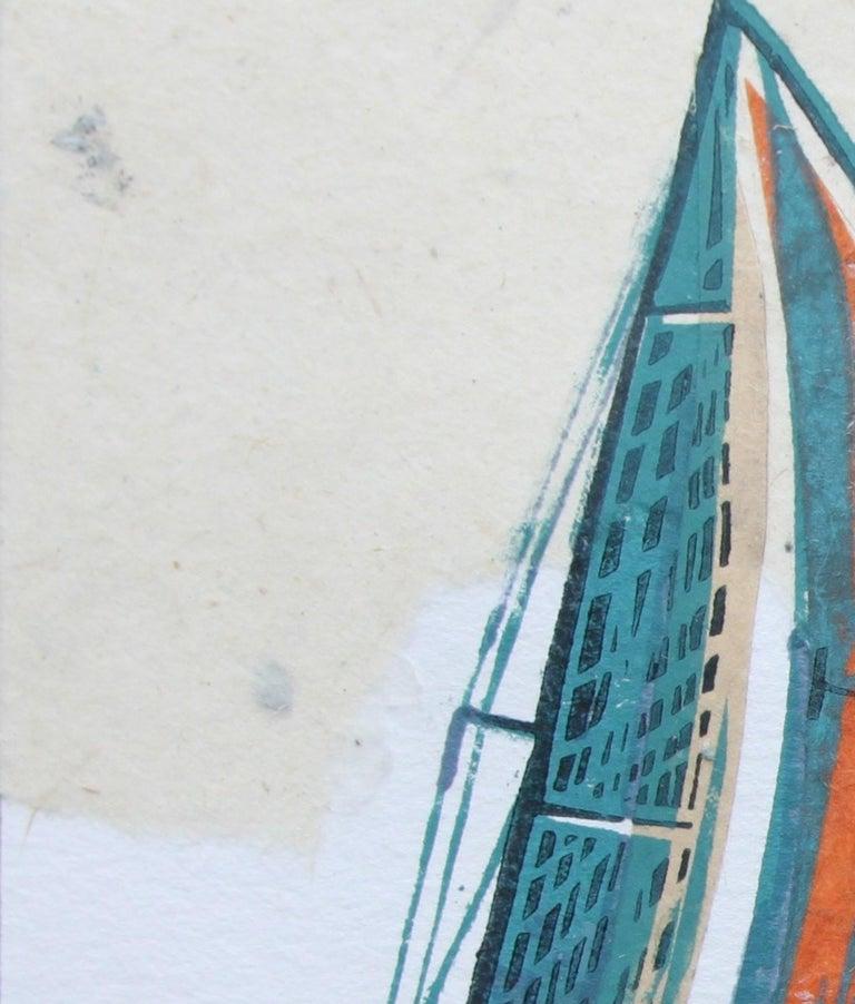 Cowes Classics by John Scott Martin, seascape, sailing, boats, linocut print For Sale 8