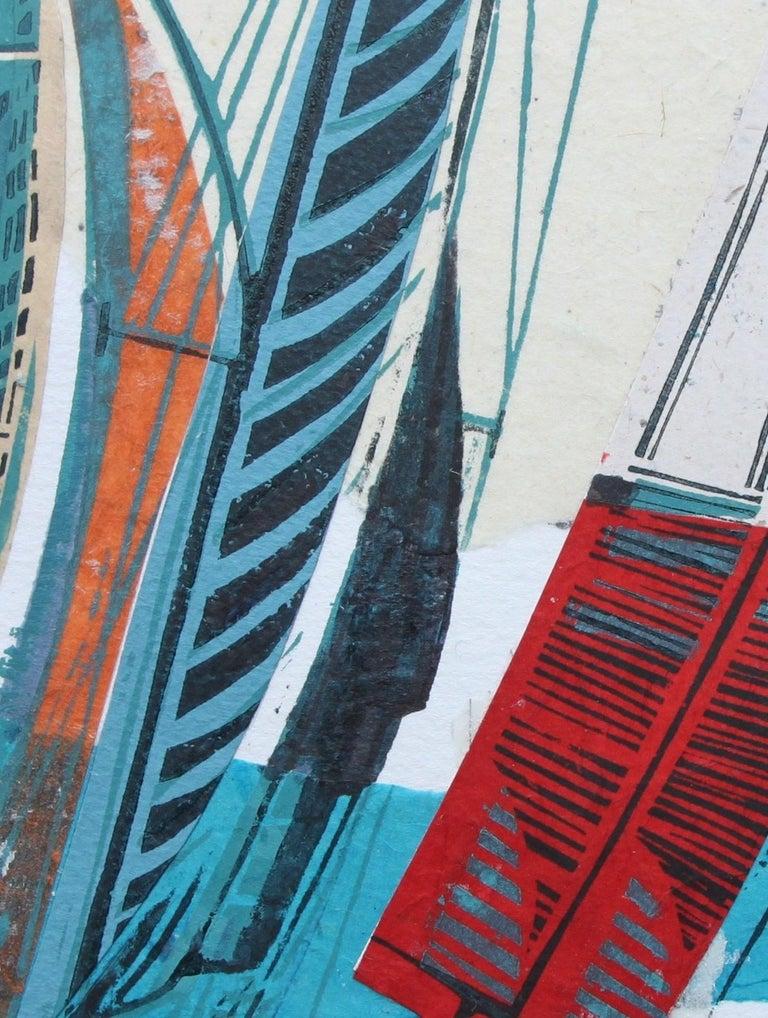 Cowes Classics by John Scott Martin, seascape, sailing, boats, linocut print For Sale 9
