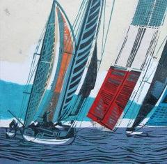 Cowes Classics by John Scott Martin, seascape, sailing, boats, linocut print