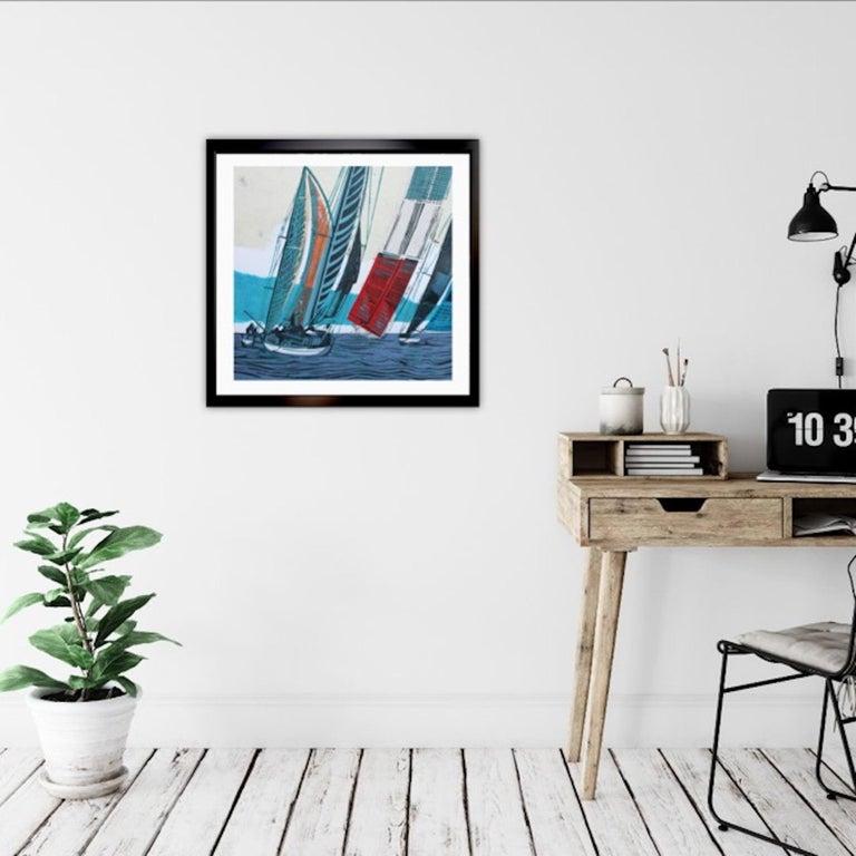 Cowes Classics by John Scott Martin, seascape, sailing, boats, linocut print For Sale 12