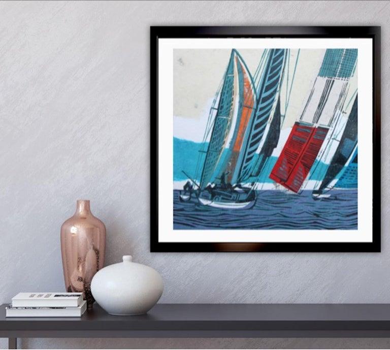 Cowes Classics by John Scott Martin, seascape, sailing, boats, linocut print For Sale 1