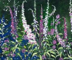 Adele Riley, Foxgloves, Original Impressionist Landscape Painting, Nature Art