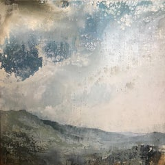 Calmer Skies, James Bonstow, Contemporary Landscape Painting, Bright Art, Blue