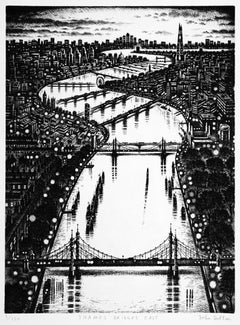 Thames Bridge East, John Duffin, London Cityscape Art, Monochromatic Prints