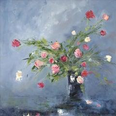Black Jar and Roses, Libbi Gooch, Semi-Abstract Painting, Contemporary Artwork
