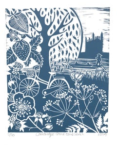 Cambridge -Stone Blue series, Kate Heiss, Limited edition linocut, Landscape