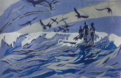Lisa Takahashi, The Surfers, Sea Scape Art, Affordable Art, Linocut Print