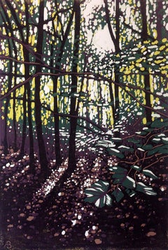 Summer Woodland Glow, Alexandra Buckle, Limited Edition Lino Print, Contemporary