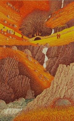Mark A Pearce, Crossing Lingcove Beck, Landscape Art, Countryside Art