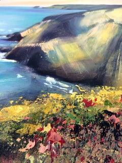 Rachel Painter, Cliffs At Porthtowan, Original Landscape Painting,