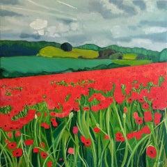 Eleanor Woolley, Poppies Near Naunton 2, Original Painting, Landscape Art