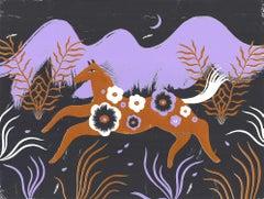 Runner at Night, Agnese Taurina, Silkscreen Print, Purple Art, Figurative Art