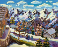 Lucy Pratt, Blue Lit Mountain Nendaz, Ski Mountain Art, Landscape Art