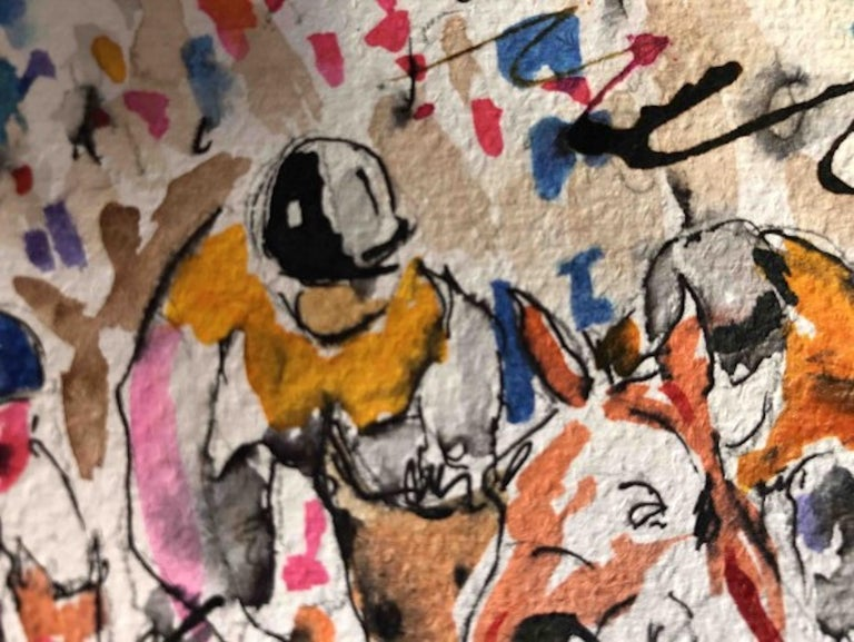 Garth Bayley, Round the Bend, Horse Racing Art, Affordable Art, Contemporary Art For Sale 4
