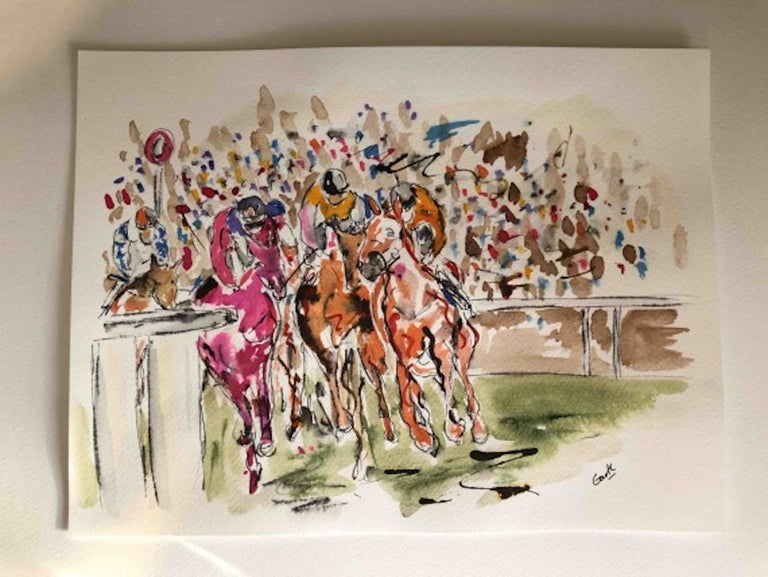 Garth Bayley, Round the Bend, Horse Racing Art, Affordable Art, Contemporary Art For Sale 5