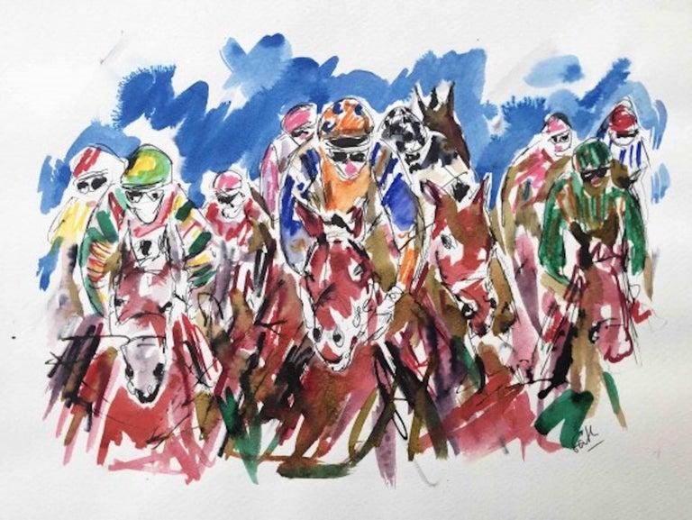 Garth Bayley, Heart of the Race, Horse Racing Art, Contemporary Art, Art Online - Gray Animal Art by Garth Bayley