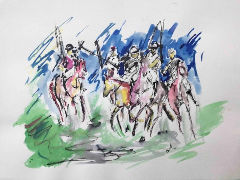 Garth Bayley, Polo Players, Contemporary Art, Polo Art, Affordable Art - Gray Animal Art by Garth Bayley
