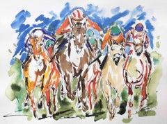 Garth Bayley, Down the Fairway, Contemporary Art, Horse Racing Art