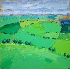 Georgie Dowling, Cotswold Fields, Original Landscape Painting, Affordable Art